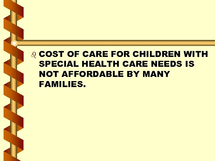 b COST OF CARE FOR CHILDREN WITH SPECIAL HEALTH CARE NEEDS IS NOT AFFORDABLE