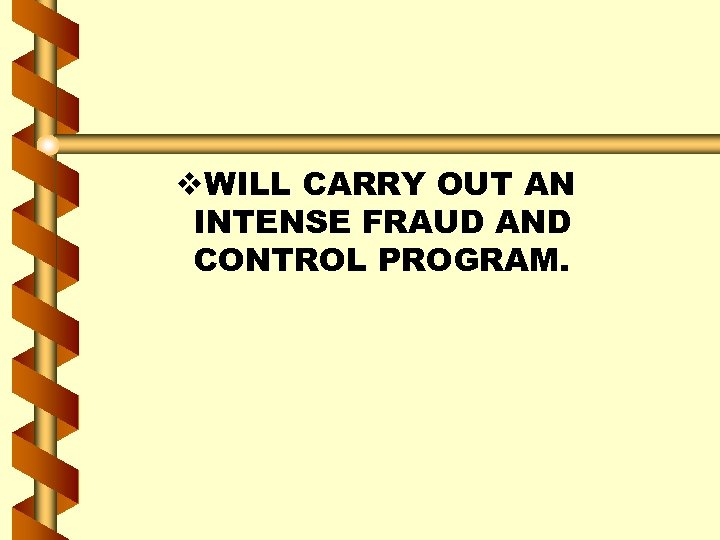 v. WILL CARRY OUT AN INTENSE FRAUD AND CONTROL PROGRAM.
