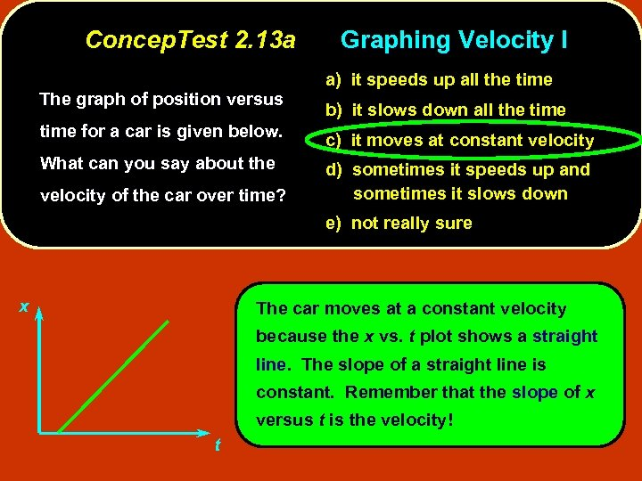 Concep. Test 2. 13 a The graph of position versus Graphing Velocity I a)