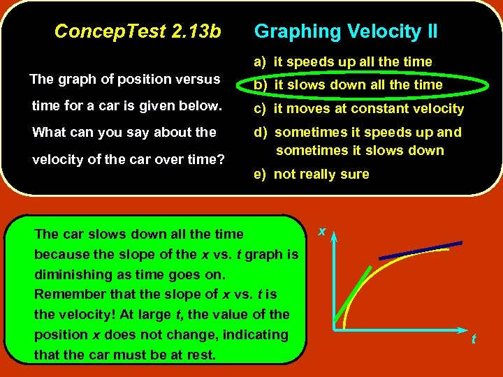 Concep. Test 2. 13 b Graphing Velocity II a) it speeds up all the