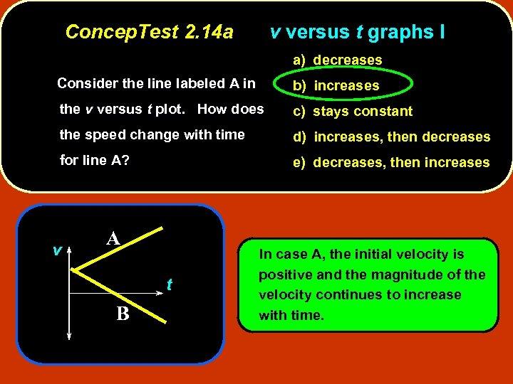 Concep. Test 2. 14 a v versus t graphs I a) decreases Consider the