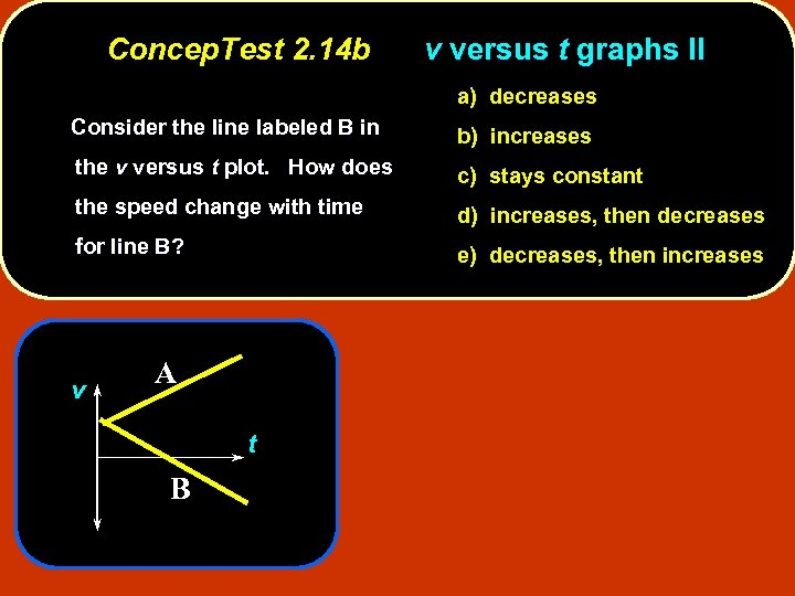 Concep. Test 2. 14 b v versus t graphs II a) decreases Consider the