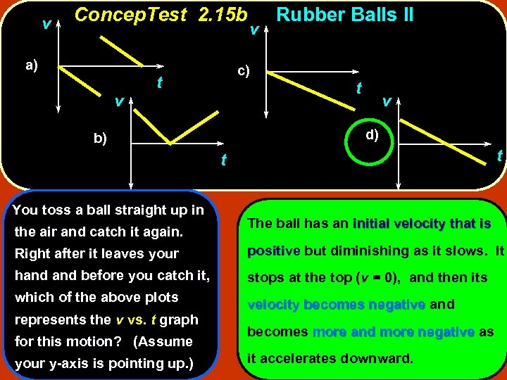 v Concep. Test 2. 15 b a) v v c) t Rubber Balls II