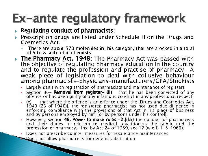 Ex-ante regulatory framework Regulating conduct of pharmacists: Prescription drugs are listed under Schedule H
