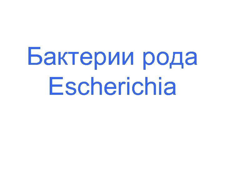 Бактерии рода Escherichia