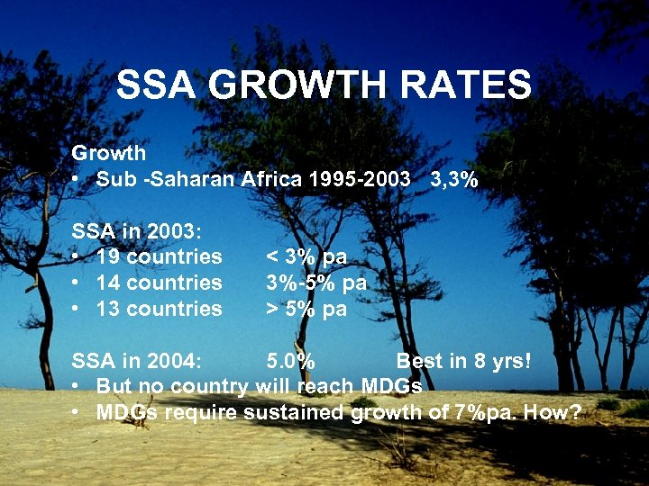 SSA GROWTH RATES Growth • Sub -Saharan Africa 1995 -2003 3, 3% SSA in