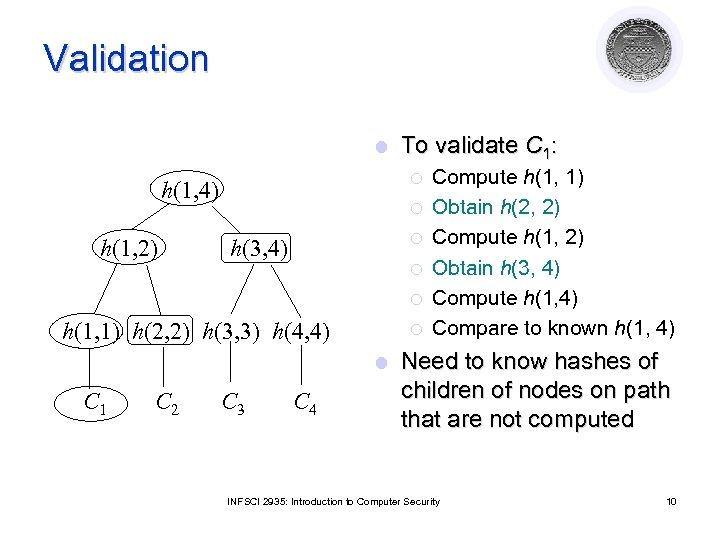 Validation l ¡ h(1, 4) h(1, 2) To validate C 1: ¡ ¡ h(3,