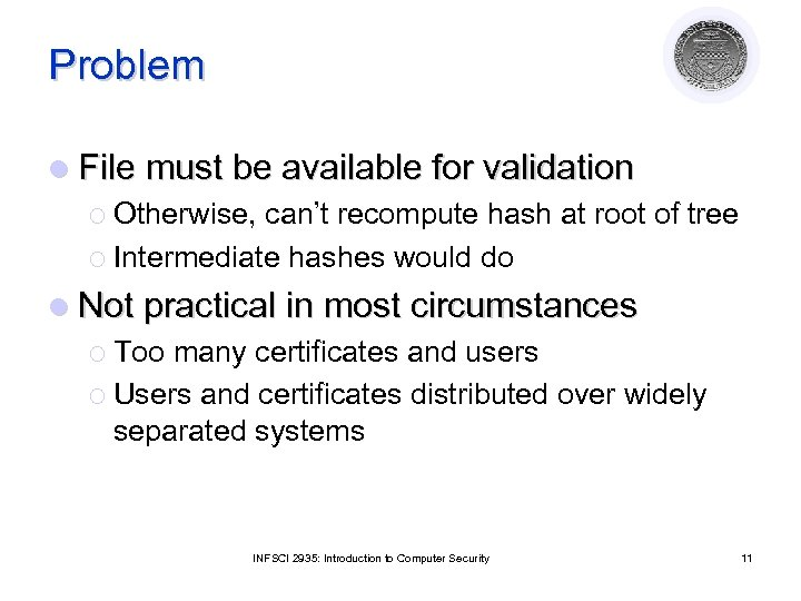 Problem l File must be available for validation ¡ Otherwise, can't recompute hash at