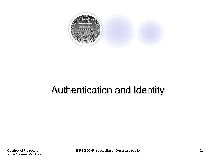 Authentication and Identity Courtesy of Professors Chris Clifton & Matt Bishop INFSCI 2935: Introduction