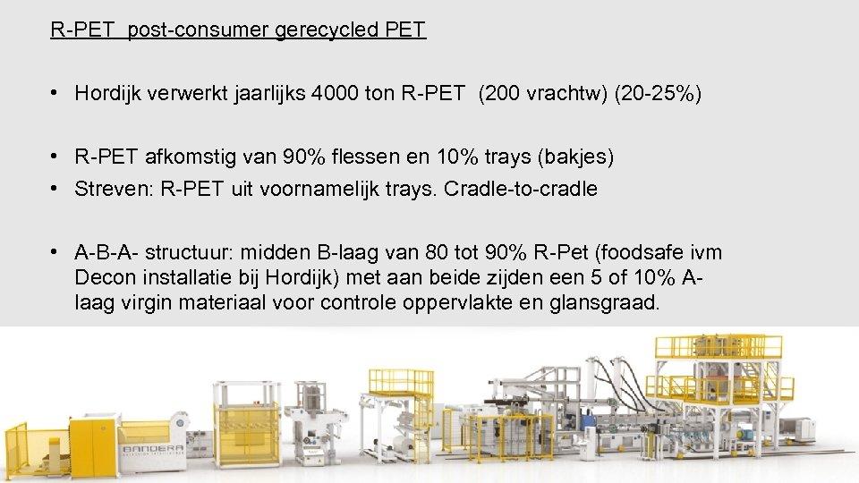 R-PET post-consumer gerecycled PET • Hordijk verwerkt jaarlijks 4000 ton R-PET (200 vrachtw) (20