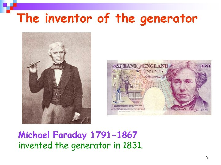The inventor of the generator Michael Faraday 1791 -1867 invented the generator in 1831.