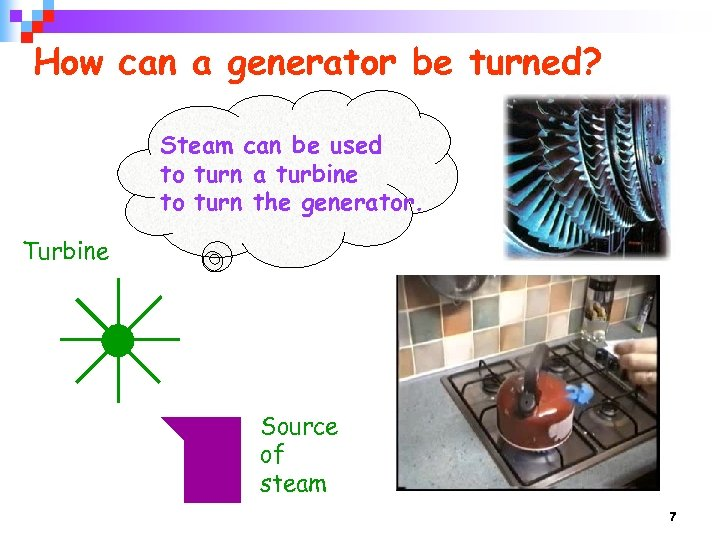 How can a generator be turned? Steam can be used to turn a turbine