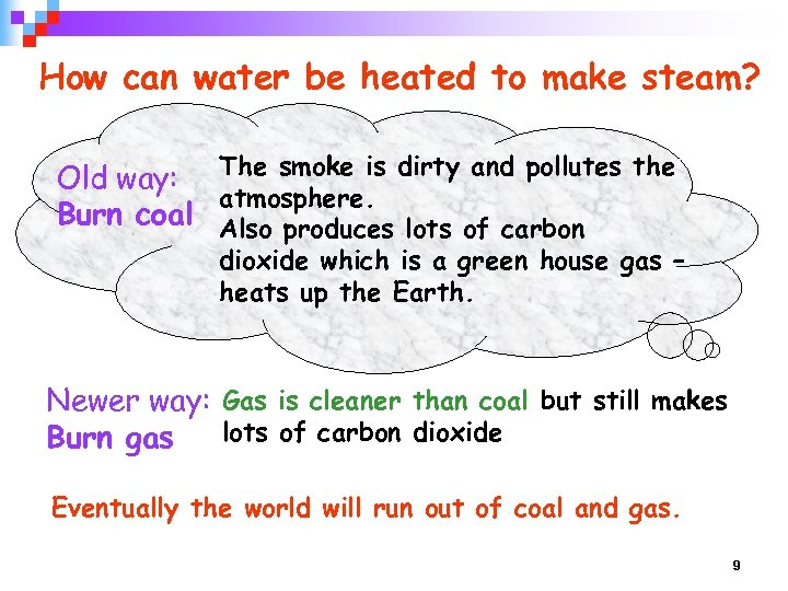 How can water be heated to make steam? Old way: The smoke is dirty