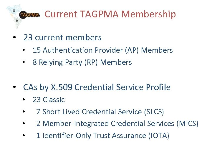 Current TAGPMA Membership • 23 current members • 15 Authentication Provider (AP) Members •