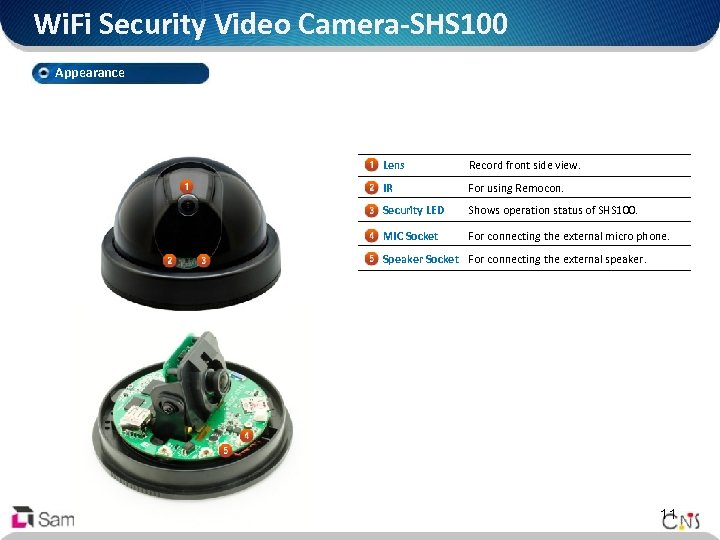 Wi. Fi Security Video Camera-SHS 100 Appearance Lens Record front side view. IR For