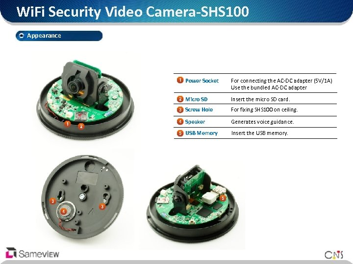 Wi. Fi Security Video Camera-SHS 100 Appearance Power Socket For connecting the AC-DC adapter