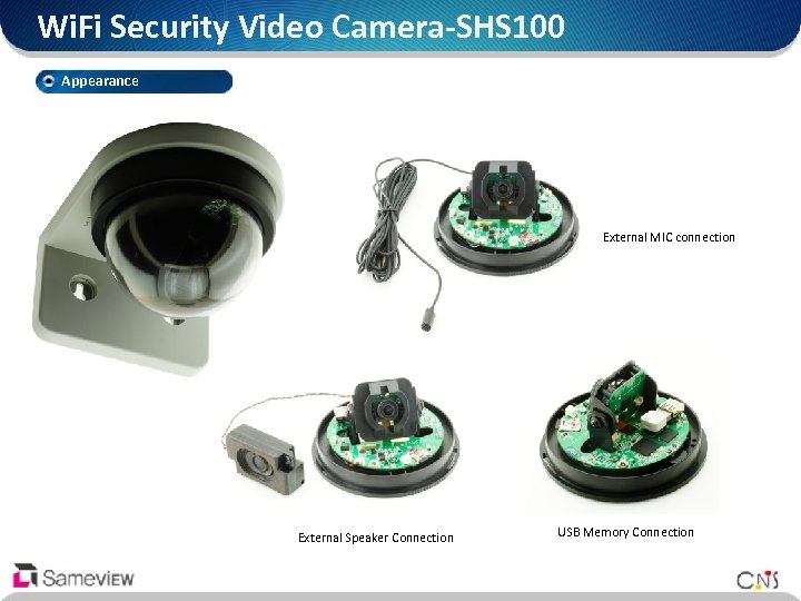 Wi. Fi Security Video Camera-SHS 100 Appearance External MIC connection External Speaker Connection USB