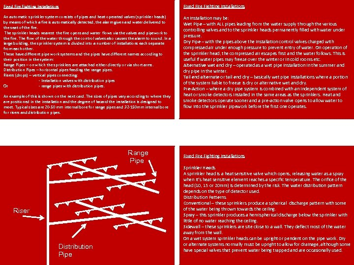Fixed Fire Fighting Installations An automatic sprinkler system consists of pipes and heat operated