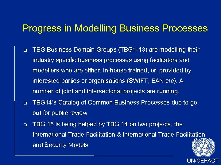 Progress in Modelling Business Processes TBG Business Domain Groups (TBG 1 -13) are modelling