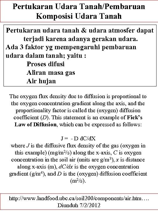 Pertukaran Udara Tanah/Pembaruan Komposisi Udara Tanah Pertukaran udara tanah & udara atmosfer dapat terjadi