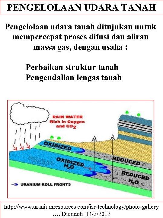 PENGELOLAAN UDARA TANAH Pengelolaan udara tanah ditujukan untuk mempercepat proses difusi dan aliran massa