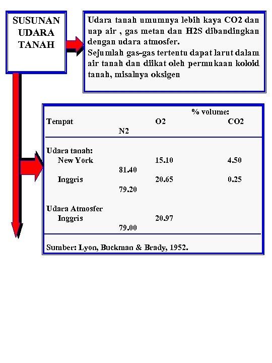 SUSUNAN UDARA TANAH Udara tanah umumnya lebih kaya CO 2 dan uap air ,