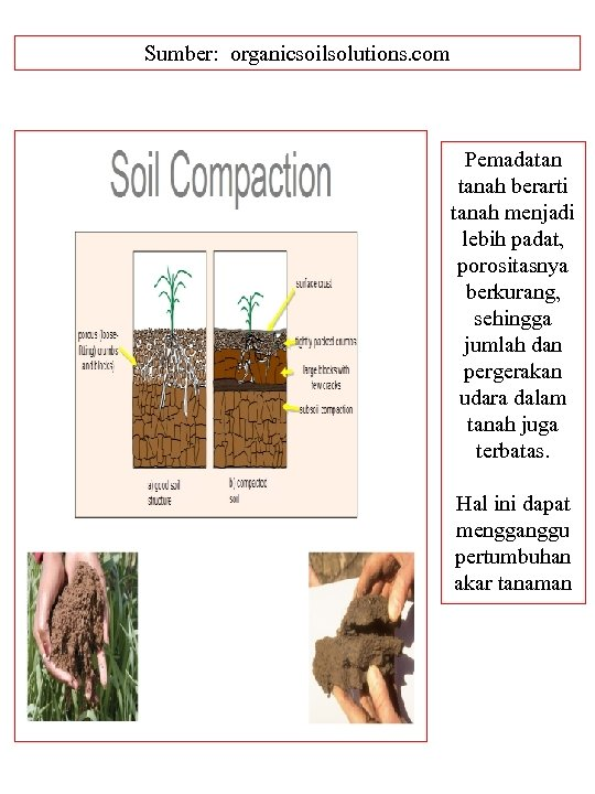 Sumber: organicsoilsolutions. com Pemadatan tanah berarti tanah menjadi lebih padat, porositasnya berkurang, sehingga jumlah