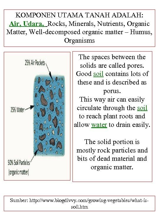 KOMPONEN UTAMA TANAH ADALAH: Air, Udara, Rocks, Minerals, Nutrients, Organic Matter, Well-decomposed organic matter