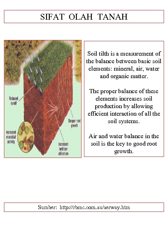 SIFAT OLAH TANAH Soil tilth is a measurement of the balance between basic soil