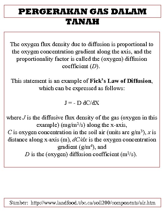 PERGERAKAN GAS DALAM TANAH The oxygen flux density due to diffusion is proportional to