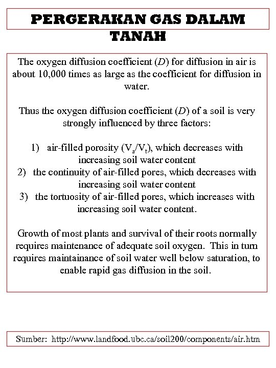 PERGERAKAN GAS DALAM TANAH The oxygen diffusion coefficient (D) for diffusion in air is