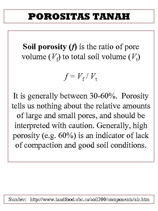 POROSITAS TANAH Soil porosity (f) is the ratio of pore volume (Vf) to total