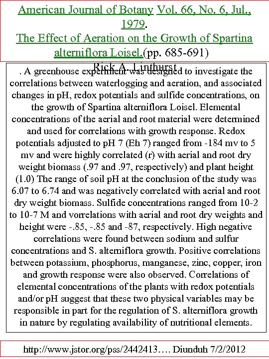 American Journal of Botany Vol. 66, No. 6, Jul. , 1979. The Effect of