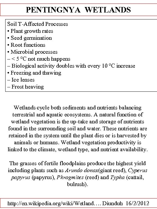 PENTINGNYA WETLANDS Soil T-Affected Processes • Plant growth rates • Seed germination • Root
