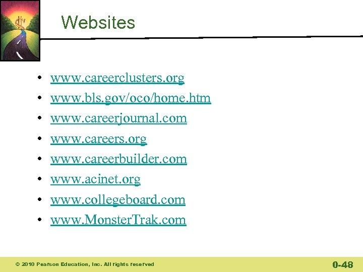 Websites • • www. careerclusters. org www. bls. gov/oco/home. htm www. careerjournal. com www.