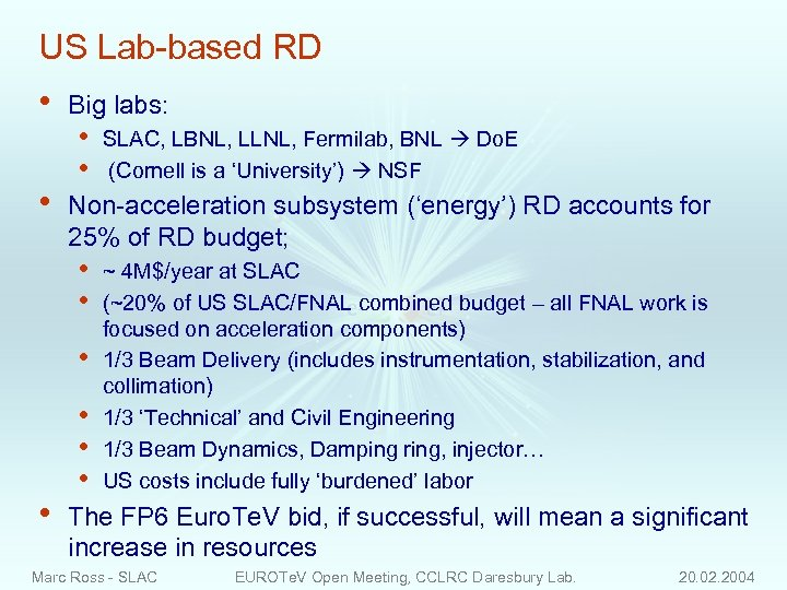 US Lab-based RD • • Big labs: • • Non-acceleration subsystem ('energy') RD accounts