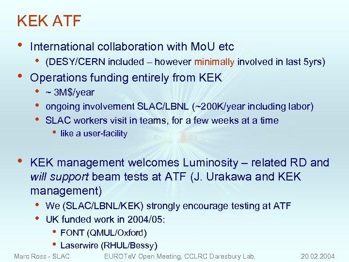 KEK ATF • • • International collaboration with Mo. U etc • (DESY/CERN included