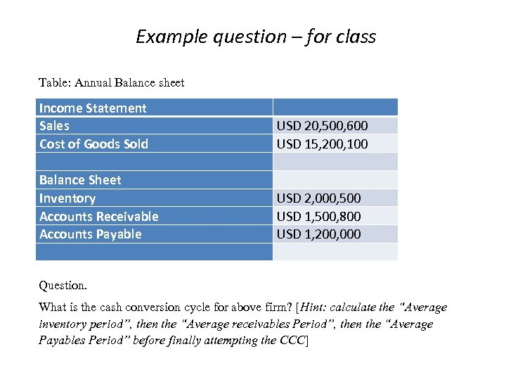 Example question – for class Table: Annual Balance sheet Income Statement Sales Cost of