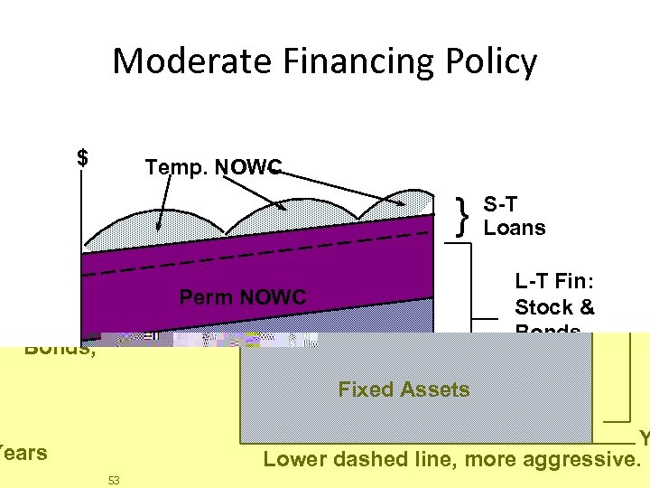 Moderate Financing Policy $ Temp. NOWC } Perm NOWC S-T Loans L-T Fin: Stock
