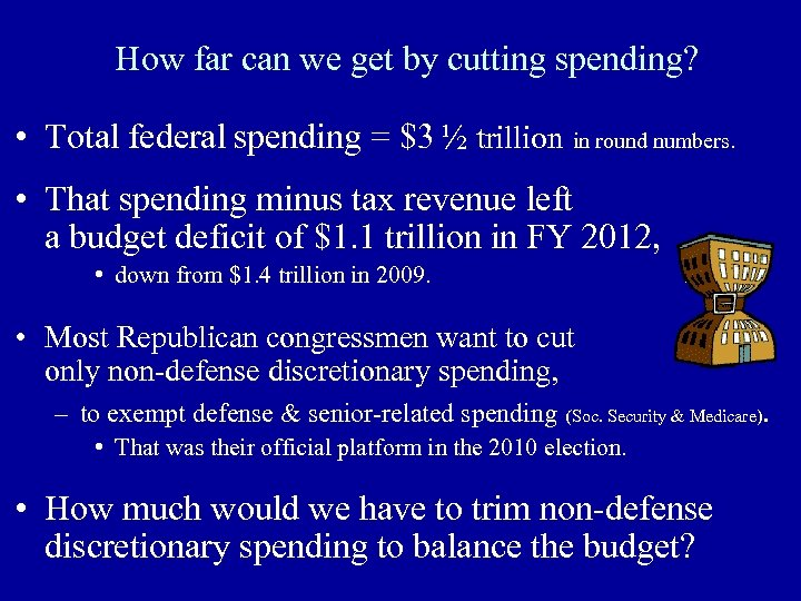 How far can we get by cutting spending? • Total federal spending = $3