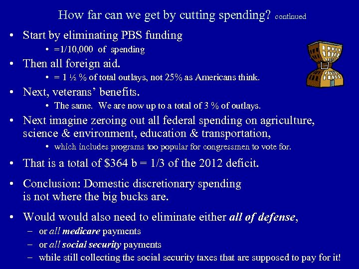 How far can we get by cutting spending? continued • Start by eliminating PBS
