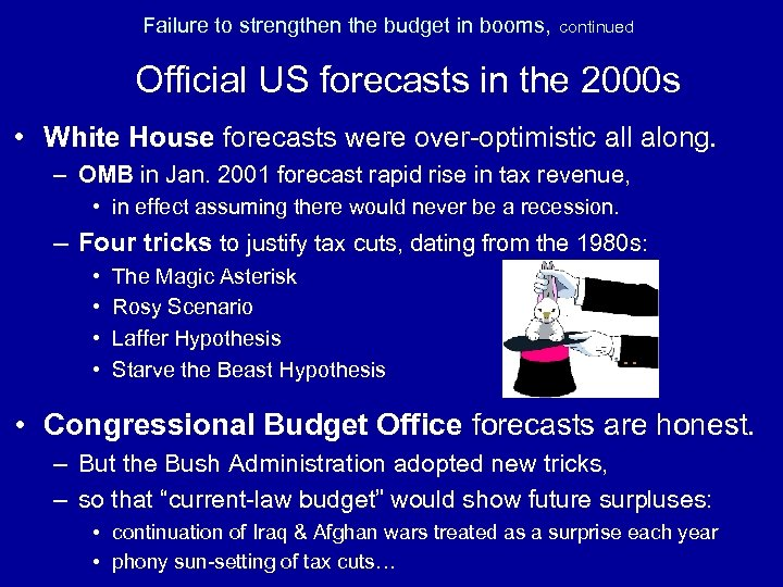Failure to strengthen the budget in booms, continued Official US forecasts in the 2000