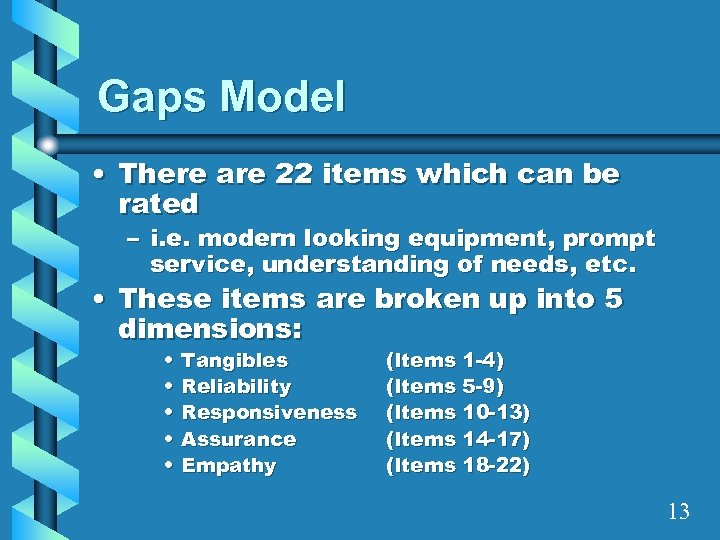 Gaps Model • There are 22 items which can be rated – i. e.