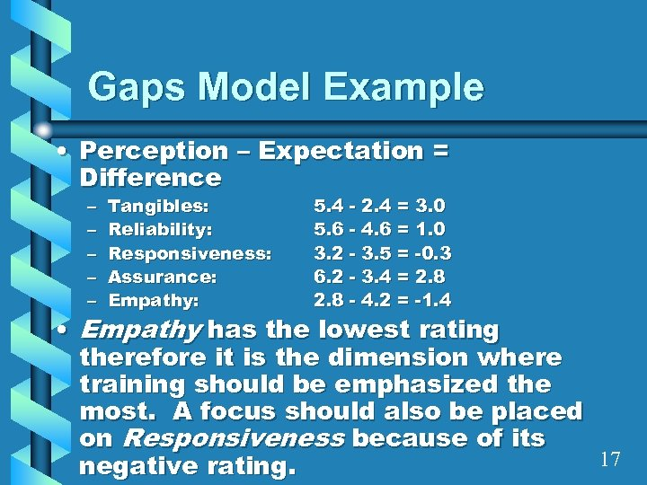 Gaps Model Example • Perception – Expectation = Difference – – – Tangibles: Reliability:
