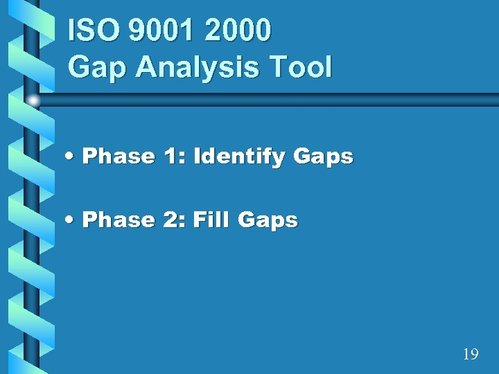 ISO 9001 2000 Gap Analysis Tool • Phase 1: Identify Gaps • Phase 2: