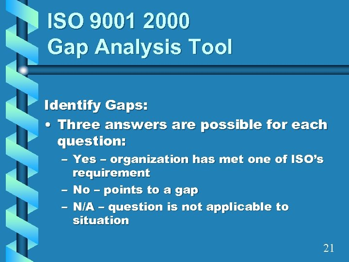 ISO 9001 2000 Gap Analysis Tool Identify Gaps: • Three answers are possible for