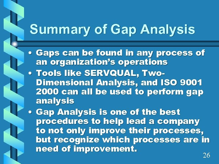 Summary of Gap Analysis • Gaps can be found in any process of an