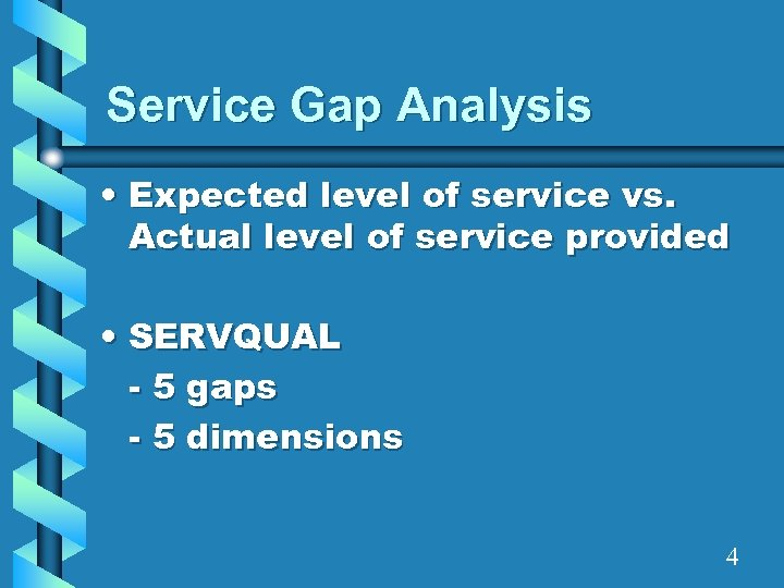 Service Gap Analysis • Expected level of service vs. Actual level of service provided