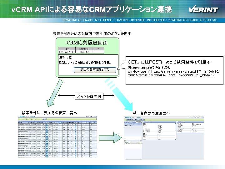"v. CRM APIによる容易なCRMアプリケーション連携 音声を聞きたい応対履歴で再生用のボタンを押す CRM応対履歴画面 【応対内容】 製品についてのお問合せ。資料送付を手配。 GETまたはPOSTによって検索条件を引渡す 例:Java scriptで引き渡す場合      window. open(""http: //server/kensaku."