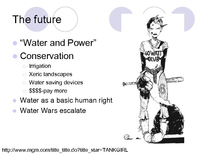 "The future l ""Water and Power"" l Conservation ¡ ¡ Irrigation Xeric landscapes Water"